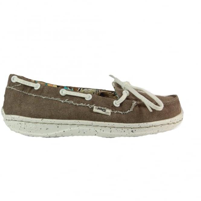 Dude Moka Ladies Deck shoe Tan, lightweight comfort slip on shoe