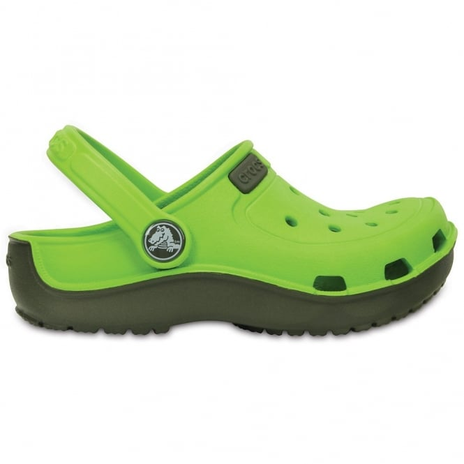 Crocs Kids Duet wave clog Volt Green/Dustly Olive, single sized crocs for more accurate fit