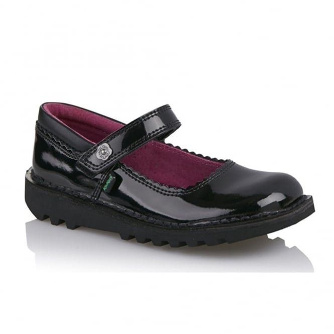 Kickers Kick Bar Bow black Patent Junior 113425, ideal for school and beyond