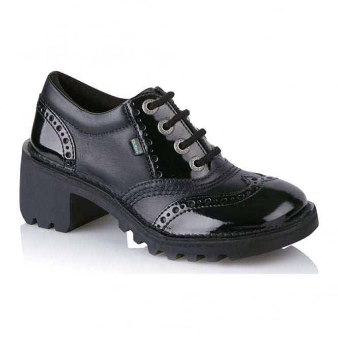 Kickers Women's Kopey Lo Brogue Black 113372, school or work shoe
