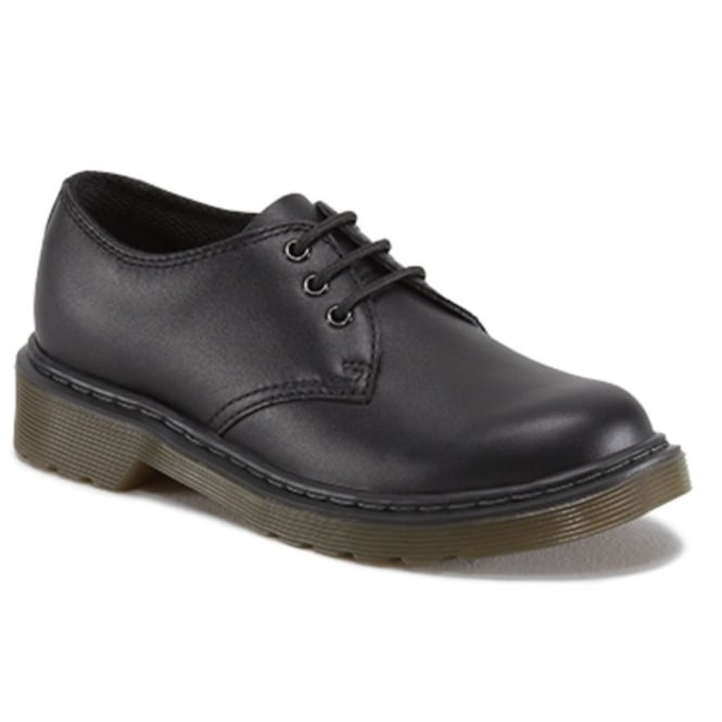 Dr Martens Kids Everley Black, lace up school comfort Shoe