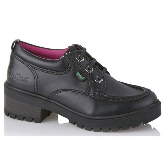 Kickers Kickmando Lo Youth Black, School shoe with slight heel