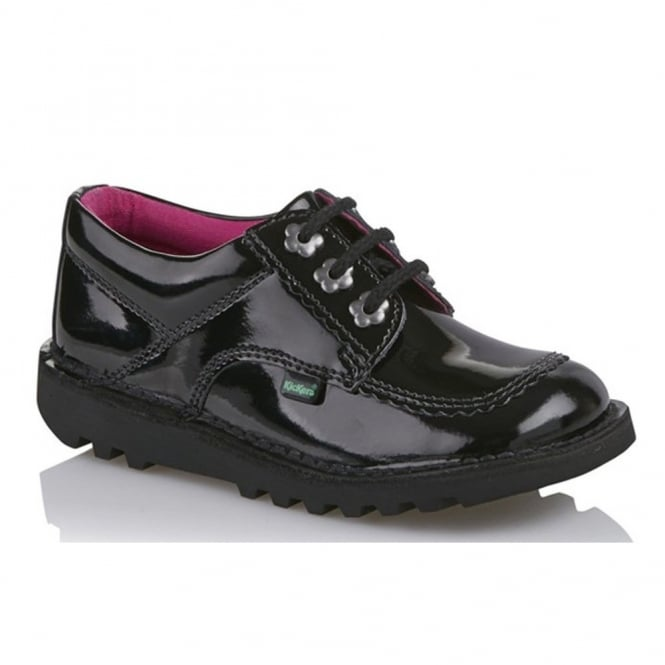 Kickers Kick Lo F Youth Patent Black/Black, Patent leather lace up shoe