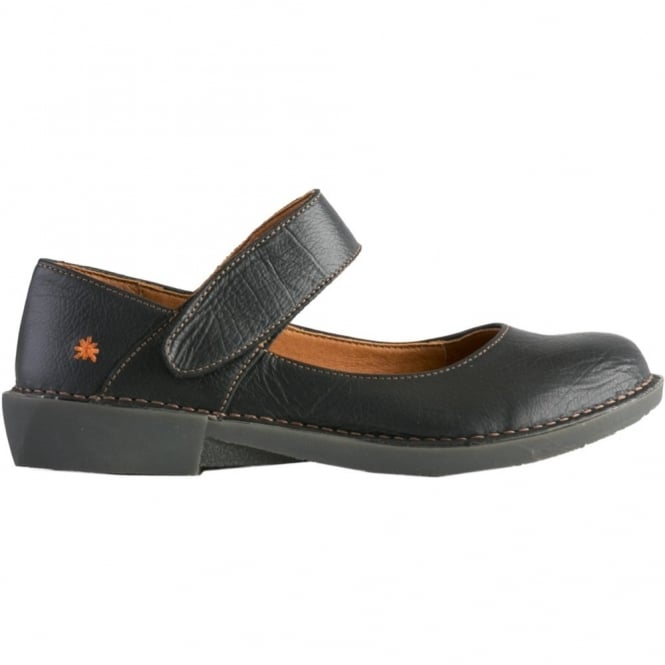 The Art Company 0916 Bergen MJ Shoe Black, leather flat with velcro fastening