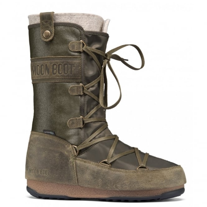 MoonBoot Moon Boots Monaco Mix Military Green, Waterproof Iconic Boot