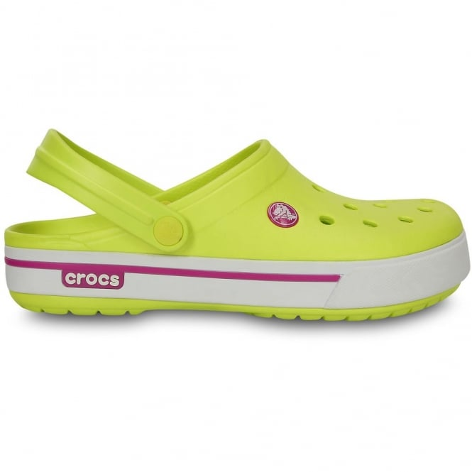Crocs Crocband II.5 Clog Tennis Ball Green/Vibrant Viola, Retro styled slip on croslite shoe