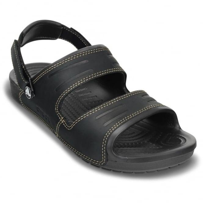 Crocs Yukon 2 Strap Sandal Black/Black, leather sandal with adjustable heel strap