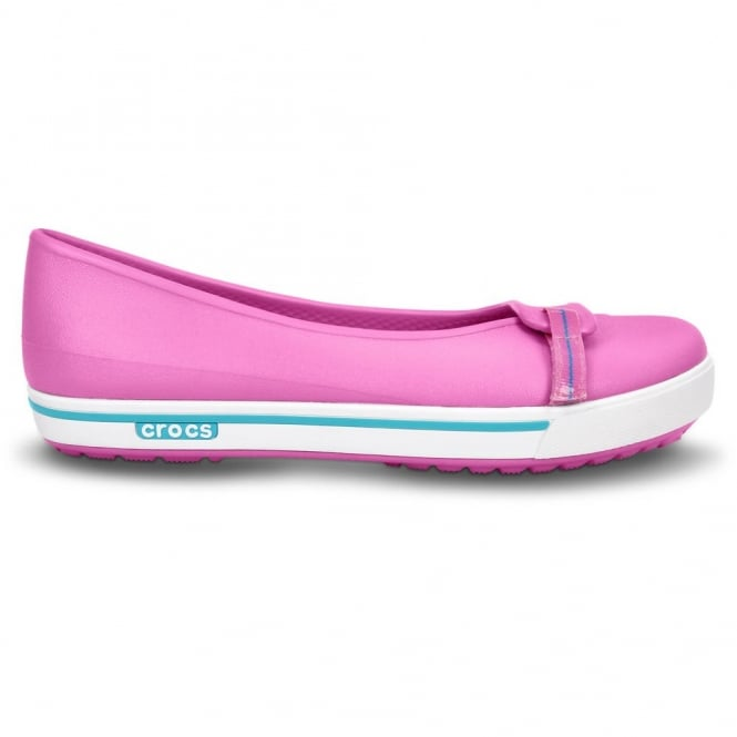 Crocs Womens Crocband II.5 Flat Party Pink/Surf, comfort in a stylish ballet pump