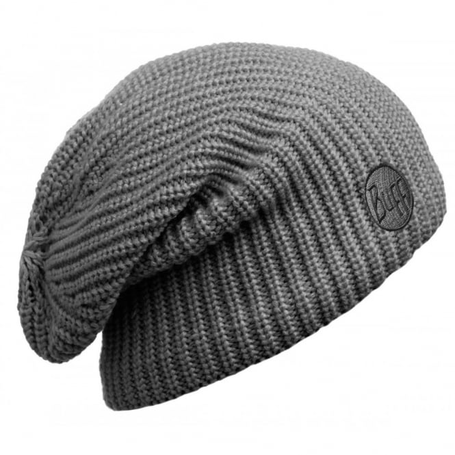 Buff Drip Hat Graphite, Slouchy knitted hat with fleece inside