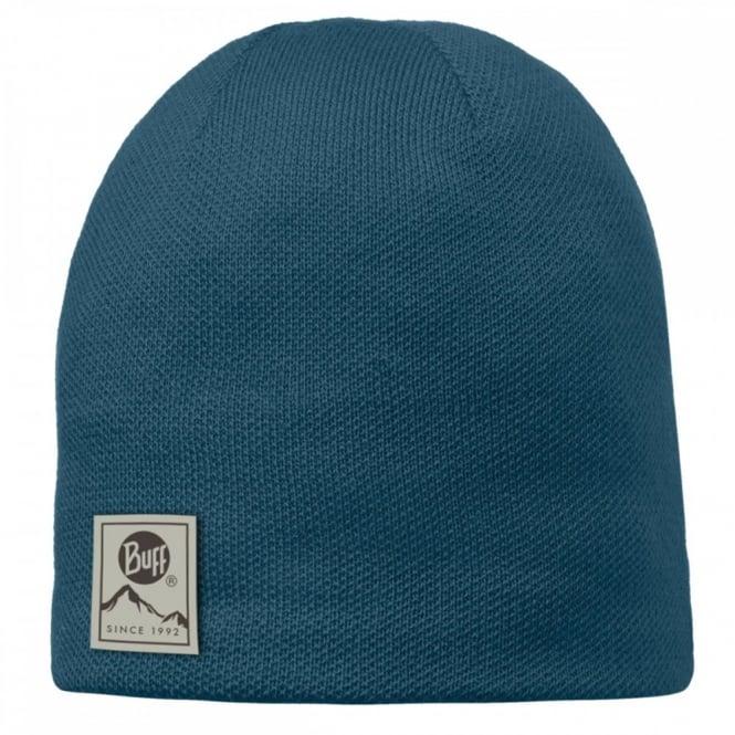Buff Solid Hat Ocean, Plain knitted hat with fleece inside