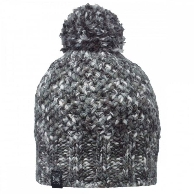 Buff Margo Hat Grey, Multi coloured chunky knitted bobble hat