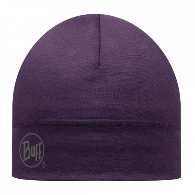 Buff Single Layer Merino Wool Hat Plum, ideal for outdoor activity or a perfect base layer to protect from the cold