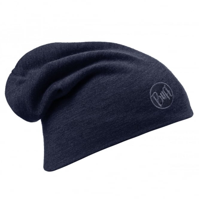Buff Merino Wool Slouchy Thermal Polar Fleece Hat Black, ideal for out door activities or to protect from extreme cold weather