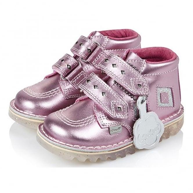 Kickers Kick Diamond Patent Infant Pink/Silver, a funky twist on the classic Kick Hi