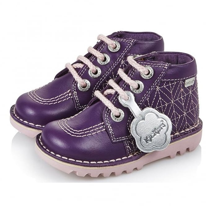 Kickers Kick Quilty Patent Infant Dark Purple/Pink 13680, a extra twist ont he classic Kick Hi