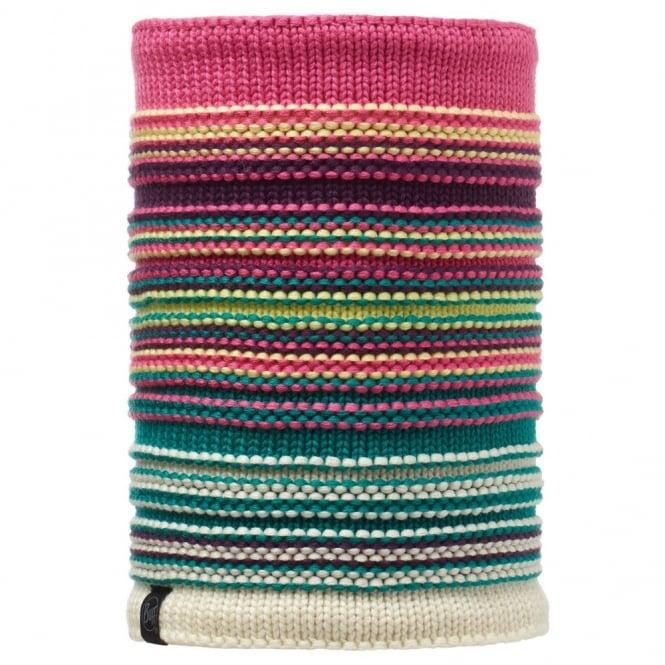 Buff Neper Nitted & Polar Fleece Neckwarmer Magenta, chunky knitted neckwarmer