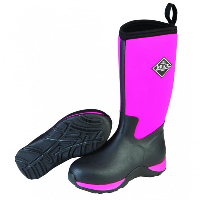 The Muck Boot Company Kids Arctic Adventure Pink/Black, a childrens version of the classic fleece lined winter welly