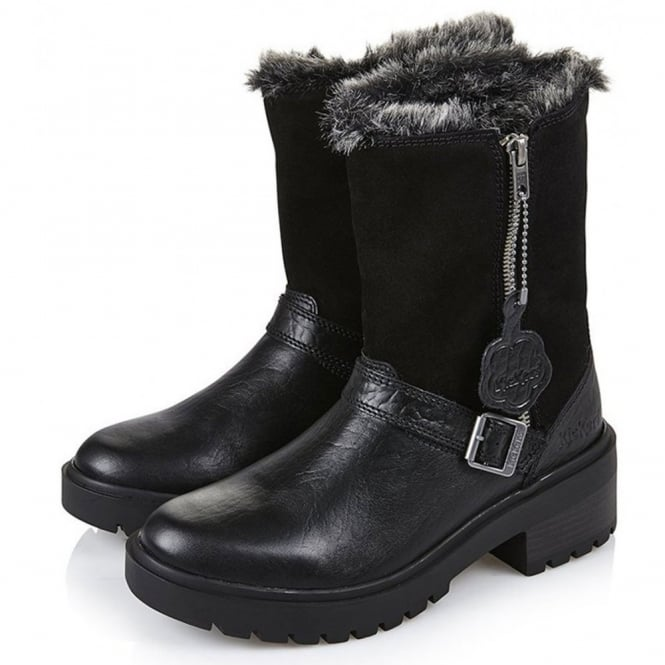 Kickers Kickmando Biker Leather Boots Black, water-repellent leather boot with buckle detail