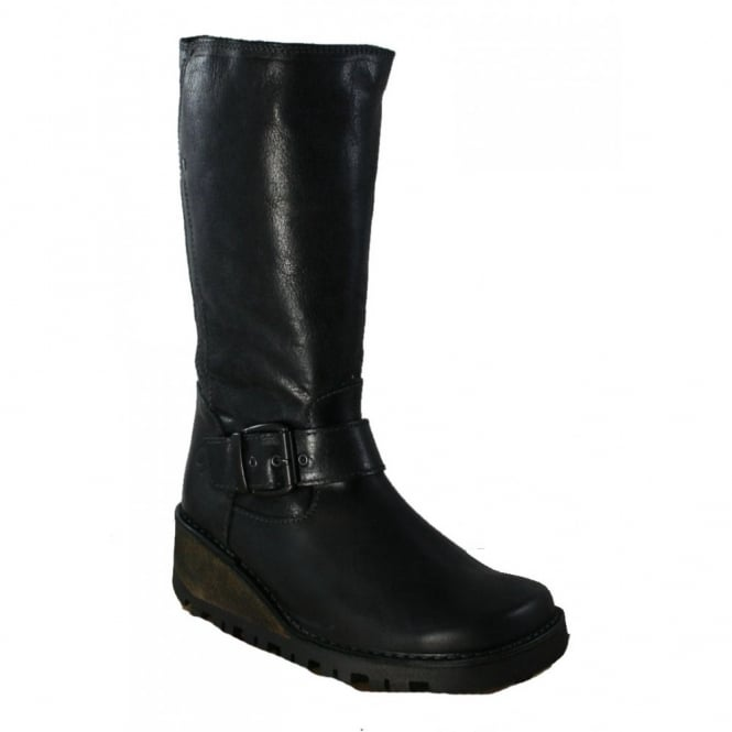 Oxygen Danube Boot Black, Wedge leather style