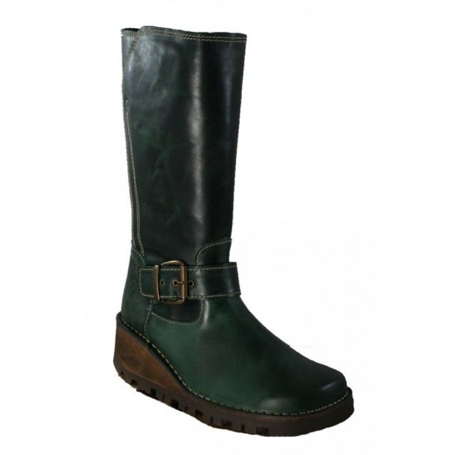 Oxygen Danube Boot Olive Green, Wedge leather style