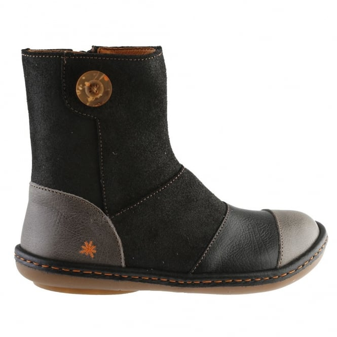 The Art Company A660 Youth/Adult Kio Night/Black, leather ankle boot with side button detail