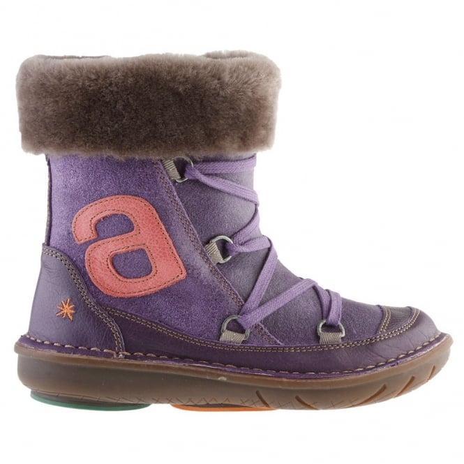 The Art Company A761 Junior Berlin Violet, zip up ankle boot with criss-cross lace up detail
