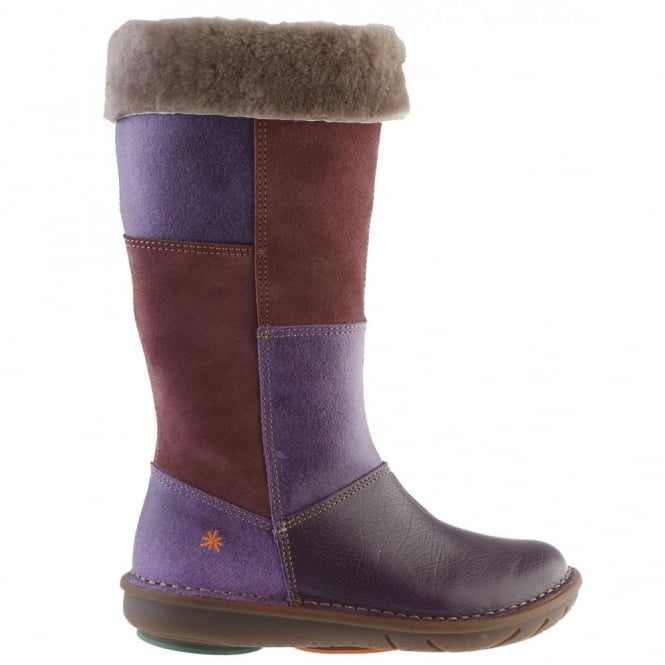 The Art Company A762 Junior Berlin Violet, tall zip up boot with fur lining