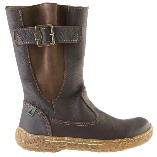 El Naturalista E749 Nido Youth/Adult Brown, leather zip up boot with side buckle detail