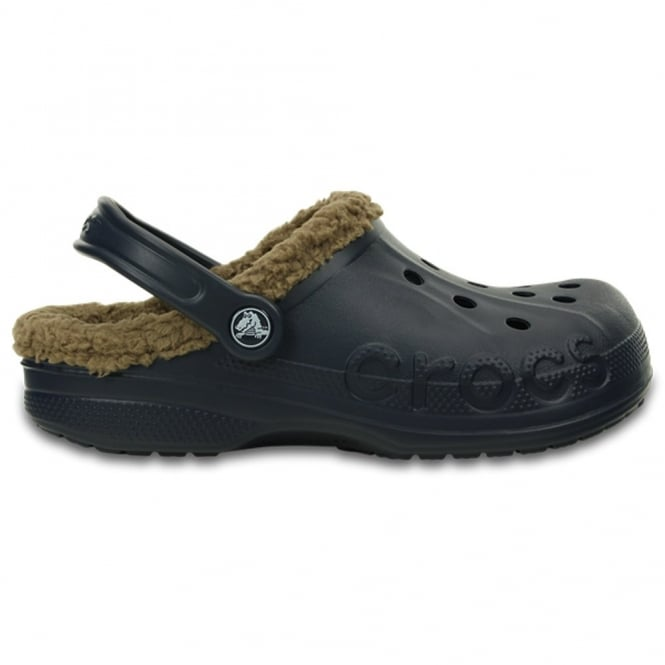 Crocs Baya Lined Navy/Khaki, Fully molded Croslite shoe with fixed fuzzy liner