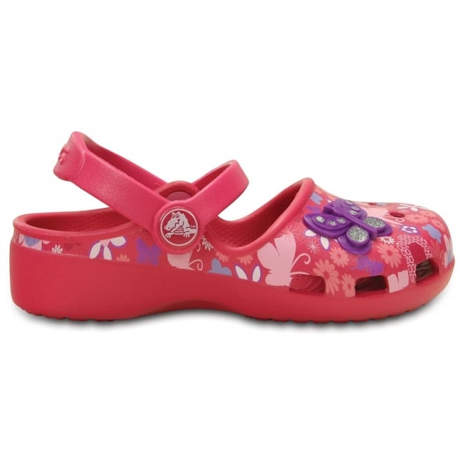 Crocs Karin Butterfly Clog Raspberry, a prettier & more feminine take on a Crocs clog
