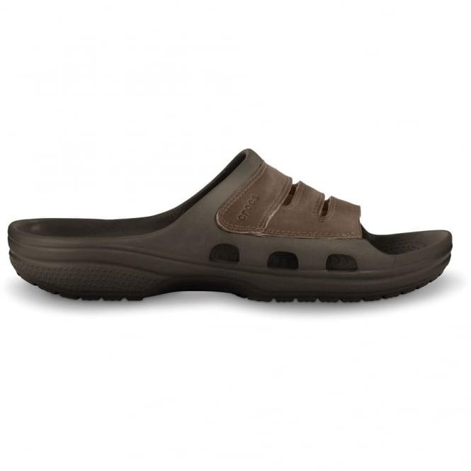 Crocs Yukon Mesa Slide Espresso/Espresso, leather slide version of the best selling mens Yukon clog
