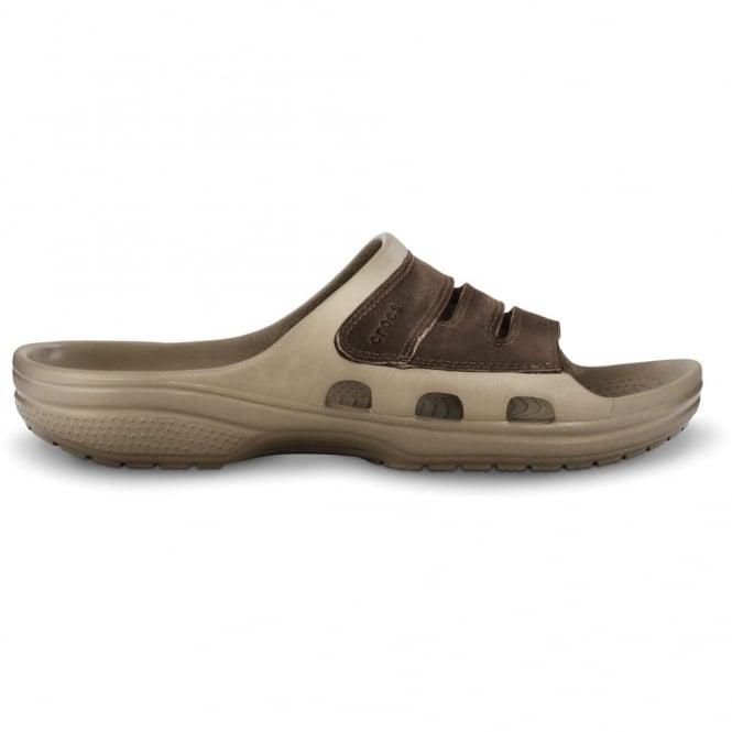 Crocs Yukon Mesa Slide Khaki/Espresso, leather slide version of the best selling mens Yukon clog