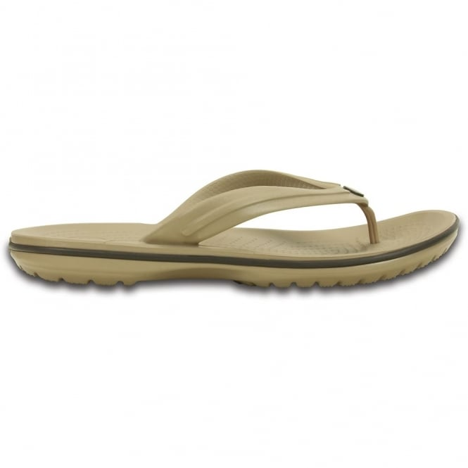 Crocs Crocband Flip Tumbleweed/Espresso, lightweight comfort with circulation nubs for blood flow stimulation