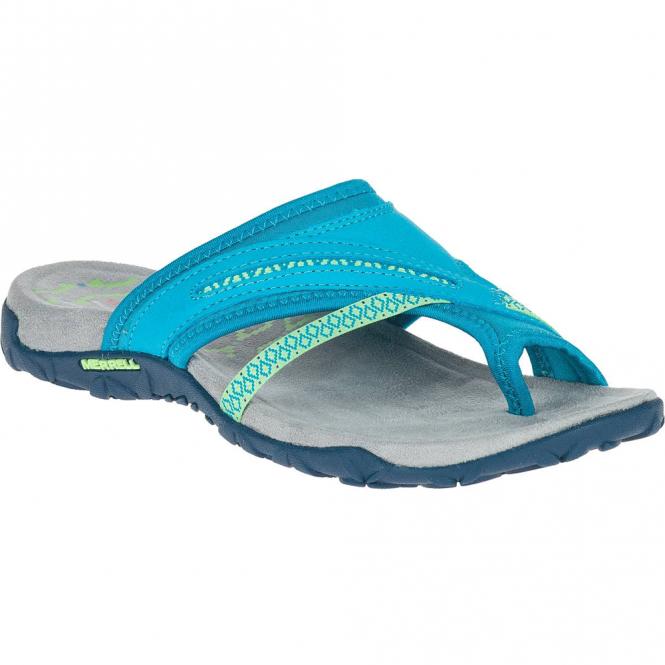 Merrell Terran Post II Teal, breathable mesh & leather sandal