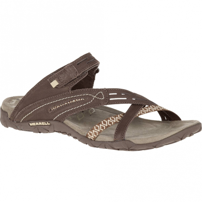 Merrell Terran Weave II Dark Earth, breathable mesh & leather sandal