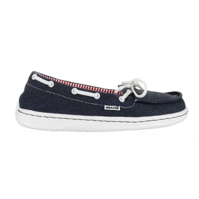 Dude Moka Ladies Deck shoe Navy, lightweight comfort slip on shoe