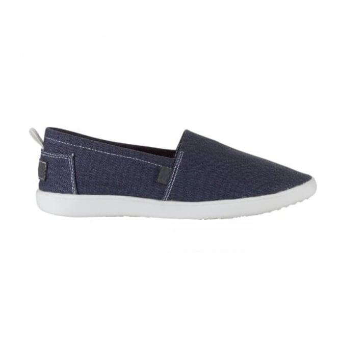 Dude Capri Stretch Navy, compact shape canvas slip on shoe