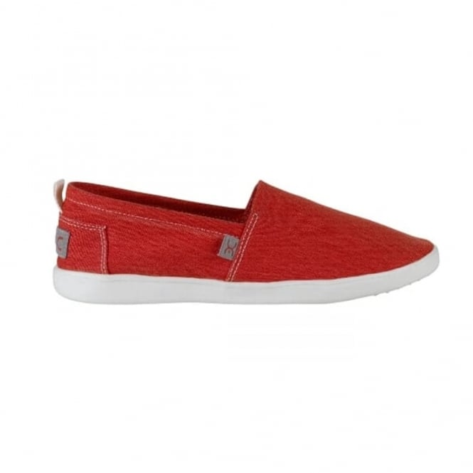 Dude Capri Stretch Red, compact shape canvas slip on shoe