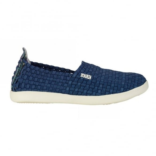 Dude E-Last Simple Incas Jeans, woven textile slip on shoe