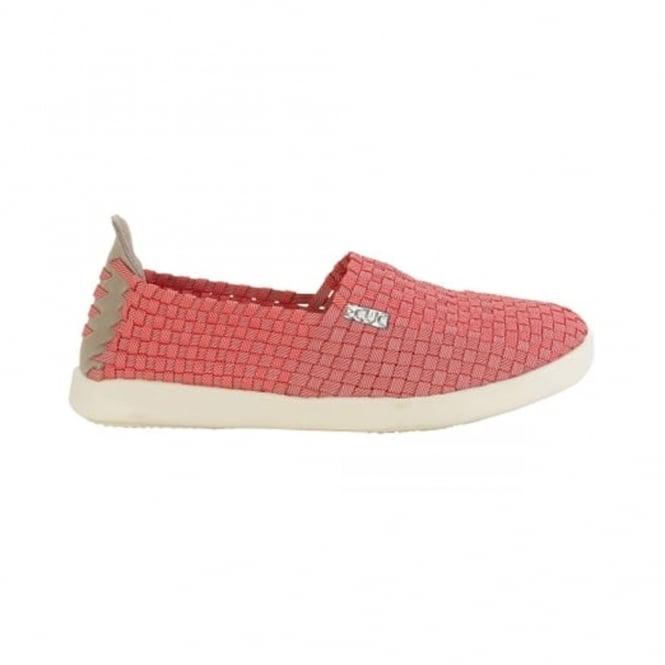 Dude E-Last Simple Coral, woven textile slip on shoe