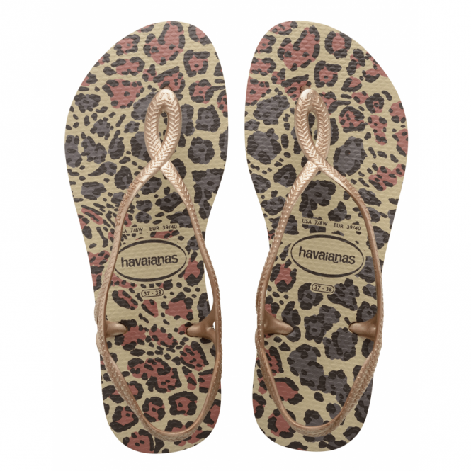 Havaianas Youth Luna Animals Sand Grey/Rose Gold, with back strap for extra security