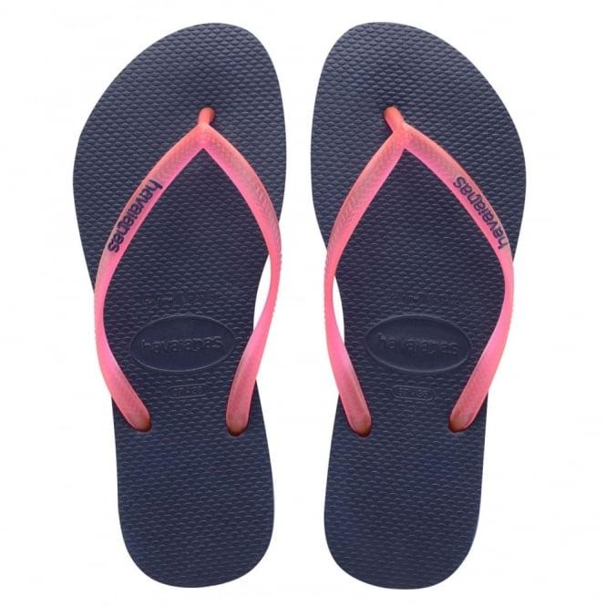 Havaianas Slim Logo Navy/Pink, Womens fit