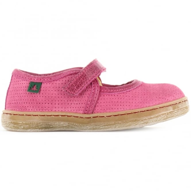 El Naturalista Kids Youth E051 Kepina Pink, simple fun girls leather flat