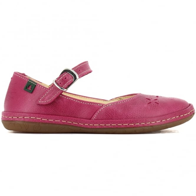 El Naturalista E824 Youth Nayade Flat Magenta, stylish leather flat