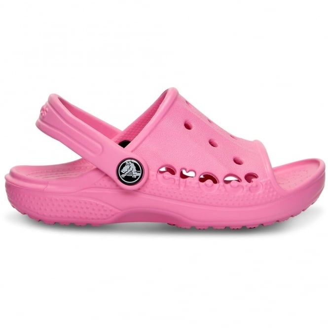 Crocs Kids Baya Slide Pink Lemonade, the perfect croslite slip on sandal