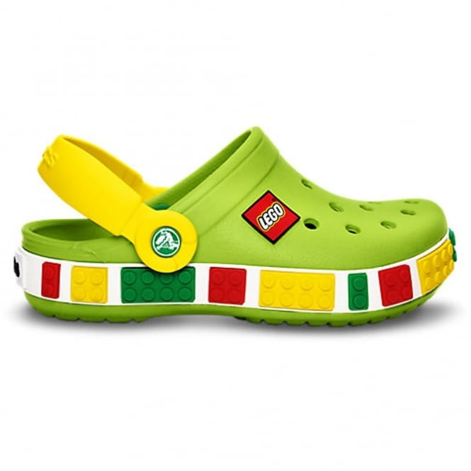 Crocs Kids Crocband Lego Shoe Volt Green/Yellow, All the comfort of a Crocband but with LEGO!