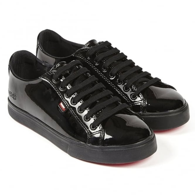 Kickers Tovni Lacer Leather AF Patent Black, sporty but elegant laced shoe
