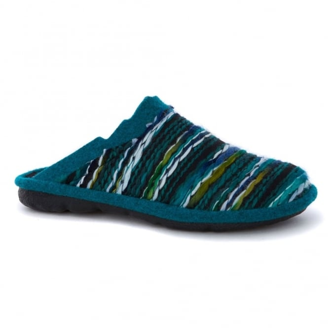 Romika Mikado Adult 66 Slipper Aqua Multi, comfort shoe with hardwearing outer sole