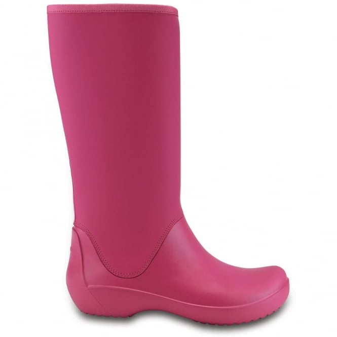 Crocs Rainfloe Tall Boot Berry, womens waterproof tall wellie