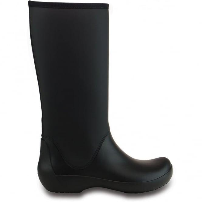 Crocs Rainfloe Tall Boot Black, womens waterproof tall wellie